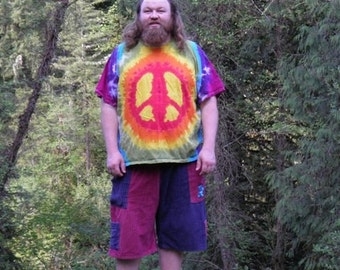 Rainbow Peace Sign Tie Dye T-Shirt (Made By Hippies Tie Dye In Stock  in Sizes Small to 4XL) (Fruit of the Loom)