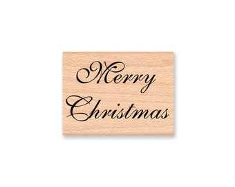 MERRY CHRISTMAS Rubber Stamp~Pretty Script Flouish~Holiday DIY Card Making and Decor Crafting~Wood Mounted Stamp (28-24)