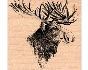COUNTRY MOOSE-wood mounted rubber stamp (41-24)