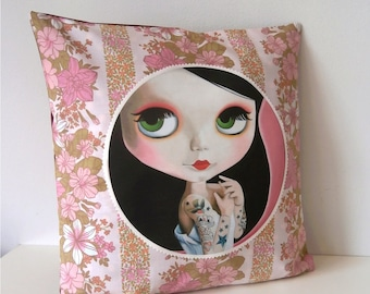 Blythe Doll Pillow cover Big Eyed Art vintage fabric floral