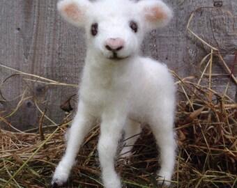 Needle Felted Lamb, Baby Sheep, Poseable