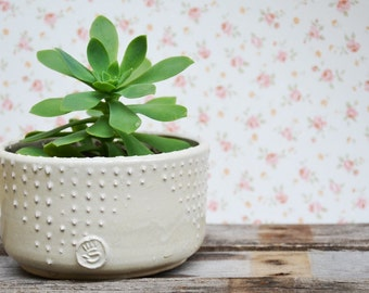 Planter in cream MADE TO ORDER with relief decoration - Stoneware (grès) Bowl