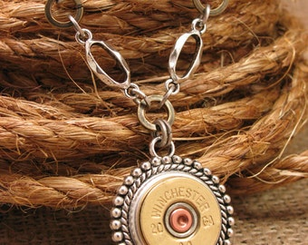 Bullet Jewelry - Shotgun Casing Jewelry - 20g Medallion Pendant with Mixed Metal Chain Necklace - Gun Jewelry - Shotgun Necklace