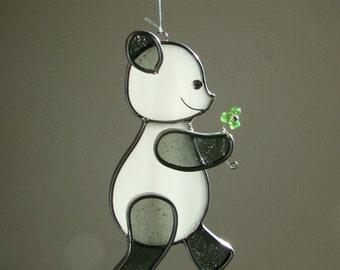 Panda Bear with Flower - Stained Glass Suncatcher