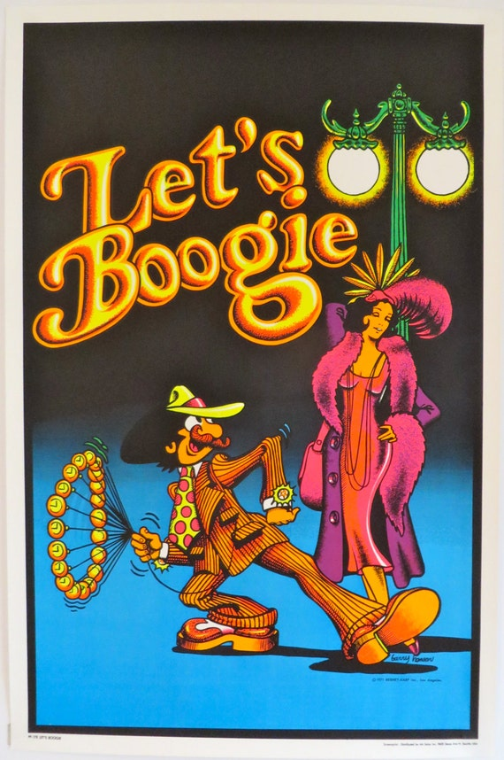 Vintage Let's Boogie Blacklight Poster Disco by ...