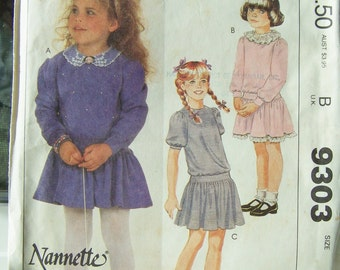 80's McCall's 9303 Girl's Sewing Pattern, SALE Girl's Pullover Knit Dress, Variable Sleeves, Low Waist Dress, Vintage Pattern Size 8 UNCUT