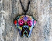 Day of the Dead Mastiff Sugar Skull Dog Necklace