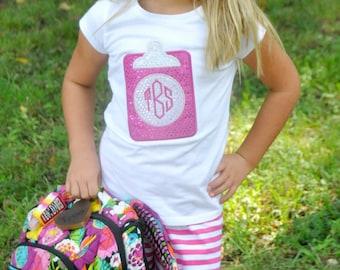 Personalized Monogrammed Clipboard Applique Shirt, Pink Glitter, Monogrammed Shirt, Back-to-School Shirt, First Day of School Shirt, LDM