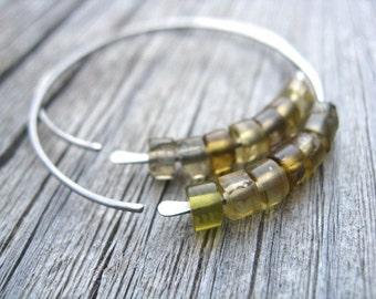 hypoallergenic niobium hoops. yellow ametrine earrings. stone jewelry.