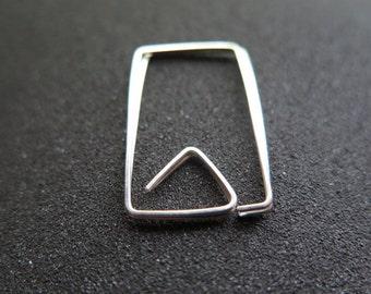 modern sterling silver hoop earrings. geometric hoops. silver wire jewelry.