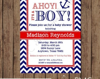 Custom Printed Navy and Red Nautical Baby Shower Invitations - 1.00 each with envelope