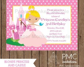 Custom Printed Blonde Princess Birthday Invitations - 1.00 each with envelope