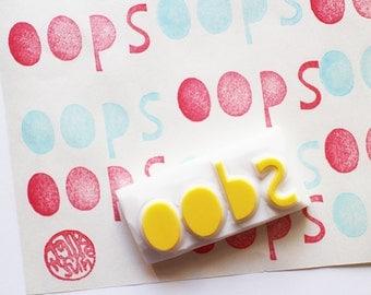 oops hand lettered stamp. hand carved word rubber stamp.  gift wrapping. scrapbooking. card making. fun craft projects