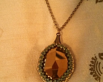 Teal and Bronze Peyote Bezel Pendant Necklace