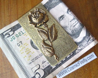 Brass Rose Money Clip Steampunk Money Clip Gothic Victorian Rose Vintage Inspired Antiqued Brass Flower Men's Accessories Men's Gifts