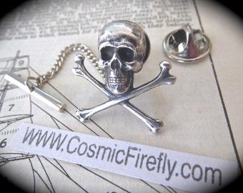 Silver Tie Tack Silver Skull Tie Tack Steampunk Tie Tack Skull & Crossbones Tie Tac Gothic Victorian Pirate Tie Tack