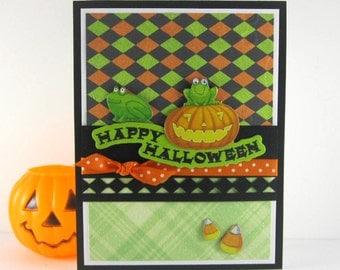 Halloween card, pumpkin, frog, kids halloween, childrens halloween, green orange black