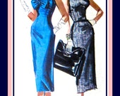 Vintage 1955-Sexy Bombshell Cocktail Wiggle Dress-Sewing Pattern-Two Styles-Bustline Bow-Shaped Empire Waistline-V Back- Size 14 -Mega Rare