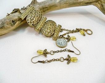 Bronze Double Strand Women's Bracelet and Angel Earrings | Angel Charms | Cuff Bracelet | Two Strand Bracelet |  Handmade Jewelry