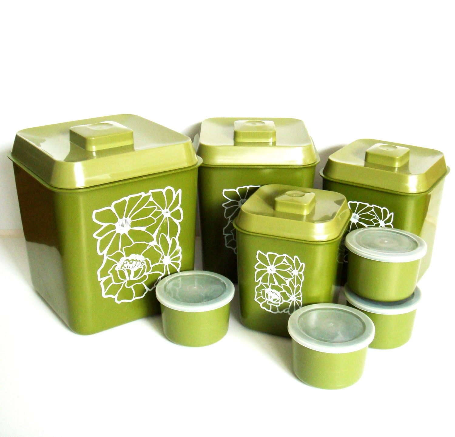 1970s avocado green canister set retro kitchen canisters with for Kitchen 87 mount holly nj