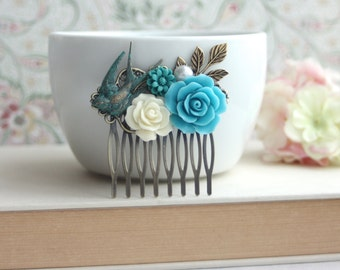Turquoise Blue, Verdigris Green, Teal Blue, Ivory Rose Brass Leaf, Pearl Flower Comb, Rustic Blue Wedding, Something Blue. Bridesmaids Gift