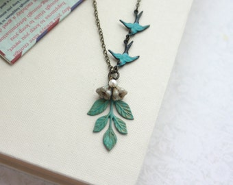 Verdigris Teal Green,Teal Blue Birds, Green Leaf Sprig and Flowers Necklace. Flying Verdigris Teal Swallow Bird Necklace, Bridesmaids Gifts
