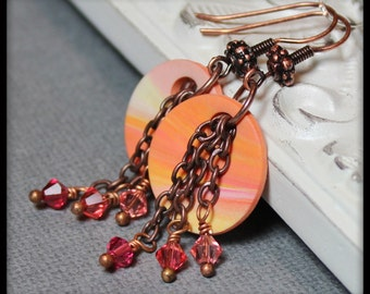 Tangerine Drops... Handmade Beaded Jewelry Earrings Polymer Clay Marbled Antique Copper Crystal Lightweight Coral Orange Peach Pink Yellow