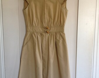 Vintage Khaki Dress With Quilting and Calico Lining