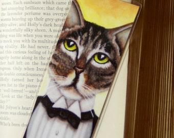 Gatsby Cat Bookmark Brown Tabby Cat in Tuxedo Roaring 20s Inspired Bookmark