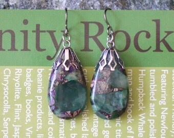Fluorite with Chalcopyrite Teardrop Dangle Earrings with Sterling Silver Titanium Ear Wires Made in Newfoundland