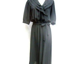 SALE 80s Sheer Black Dress size Small Medium Plunging Neckline Surplice Neckline