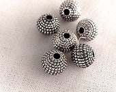 Antiqued Metalized Beads with a Raised Dotted Texture - Quantity Savings - Available Gold or Silver -