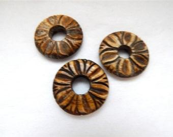 Large Carved Bone Disc  x 2