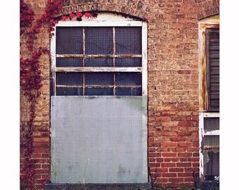 Architecture Photography, Abandoned Factory Dark Moody Photograph, Brick Dark Red Maroon Home Decor, Nature, Halloween Art, Halloween