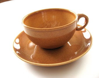 Russel Wright Iroquois Casual China Cup & Saucer - Nutmeg Brown