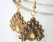 Golden Peacock Earrings - Eco Friendly - Peacock Inspired Earrings Made with Recycled Plastic Buttons