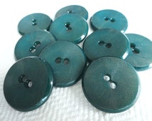 Teal Vintage Buttons - 6 Mid Century French Plastic