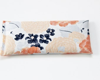 Lavender Eye Pillow, Peach and Navy Floral Cold Pack, Cotton Anniversary Gift