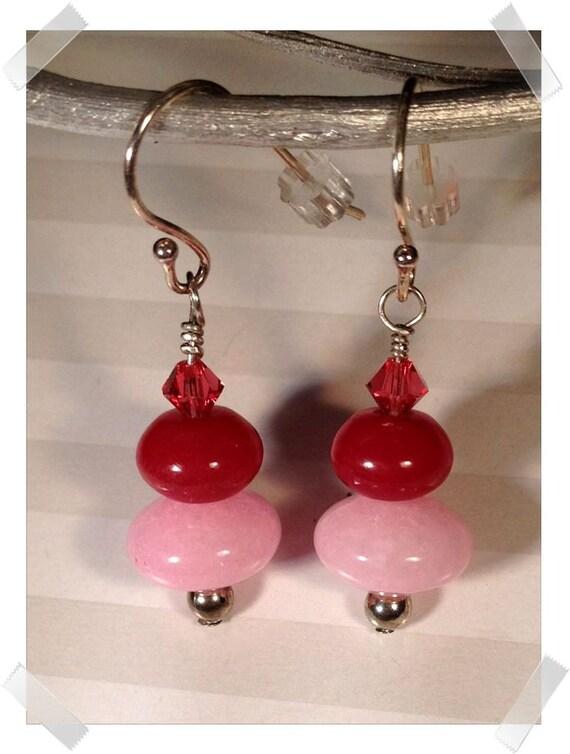 Cherries on Top -- Pink Jade, Red Jade, Hot Pink Swarovski Crystals with Sterling Silver Earrings