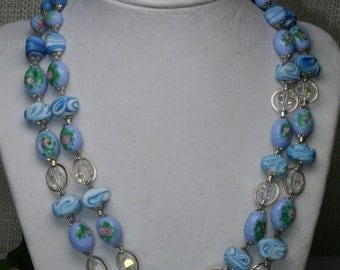 Vintage Double Strand Beaded Glass Bead Necklace- Japan