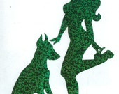 Doberman and Pin Up Silhouette, Green Glitter Vinyl Decal