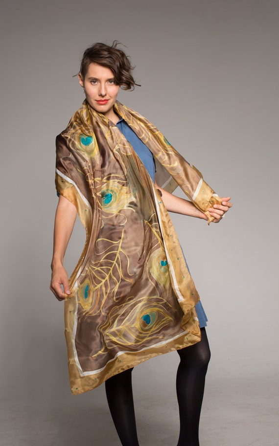 Silk scarf- Autumn Peacock Feathers. Hand Painted Silk Scarf Shawl. Camel brown Scarf. Unique handmade scarves/ Transitional scarf КМ1617