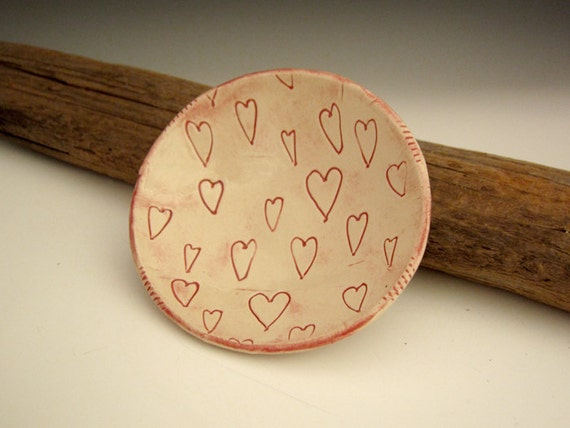 Pottery Bowl in Pink with Hearts - by DirtKicker Pottery