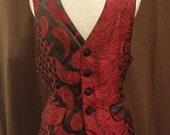 Steampunk Red & Black Brocade Waistcoat Vest