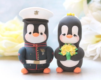 Wedding cake toppers Military Penguins - US Marine dress blue jacket - with hat - job work profession bride groom figurines yellow red gold
