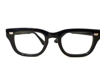 NOS Vintage 50s 60s Smaller Black Horn Rimmed Eyeglass Frame.  Mad Men Tart Arnel AO B&L Style on Sale