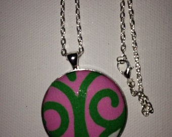 Preppy Long necklace, Circle Pendant, Round Pendant, Coverbutton Pendant, Fabric Pendant Necklace, Preppy Pendant, Preppy Inspired Jewelry.