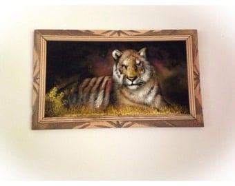 Vintage Tiger Velvet Painting Framed Mexico