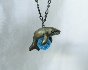 Humpback Whale Necklace Pendant Rear View Mirror Dangle Charm Polymer Clay