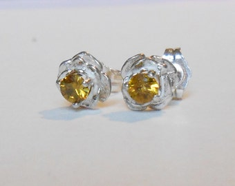 FINAL REDUCTION Color shift DEMANTOID rose stud earrings in sterling silver